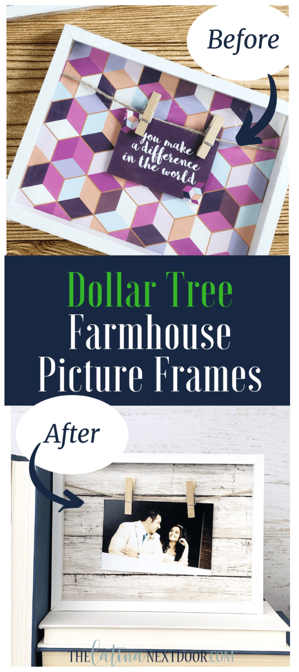 DIY Dollar Tree Farmhouse Picture Frame Long Pin DIY Dollar Tree Farmhouse Picture Frames