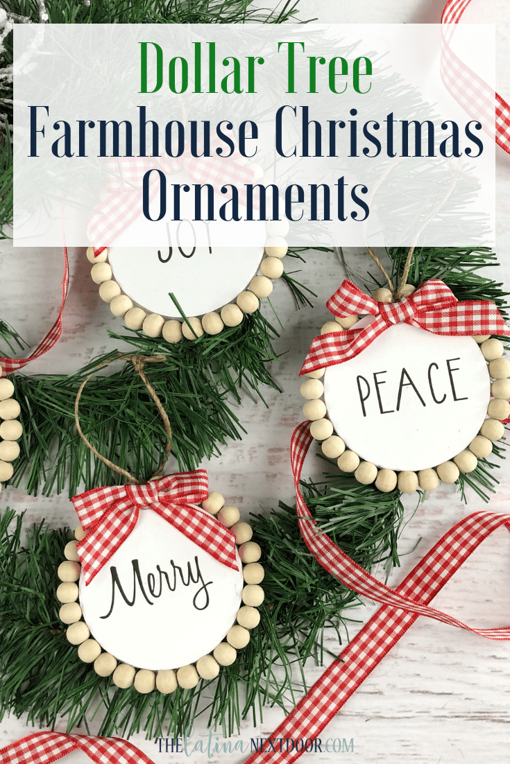 Dollar Tree Farmhouse Christmas Ornaments The Latina Next Door