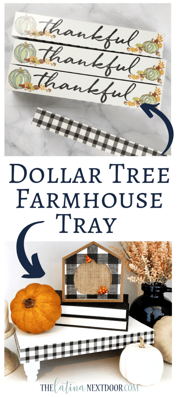 DIY Dollar Tree Farmhouse Tray Long Pin DIY Dollar Tree Farmhouse Tray