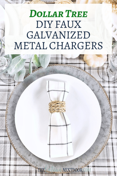 DIY Dollar Tree Galvanized Metal Chargers