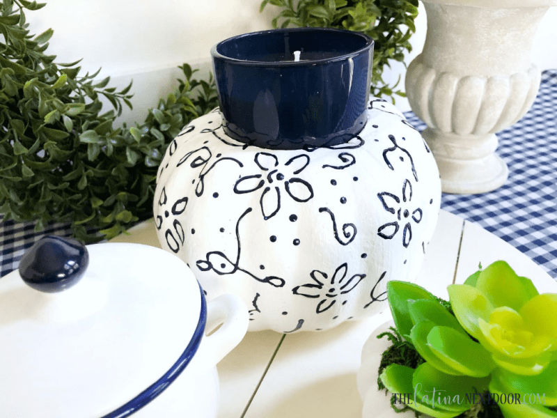 Blue White Pumpkin Candleholder 7 High End Dollar Tree Fall DIYs