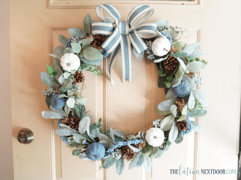 Look for Less Fall Wreath 13 Blue & White Fall Wreath