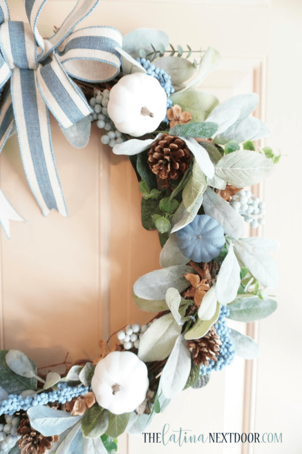 Look for Less Fall Wreath 14 Blue & White Fall Wreath