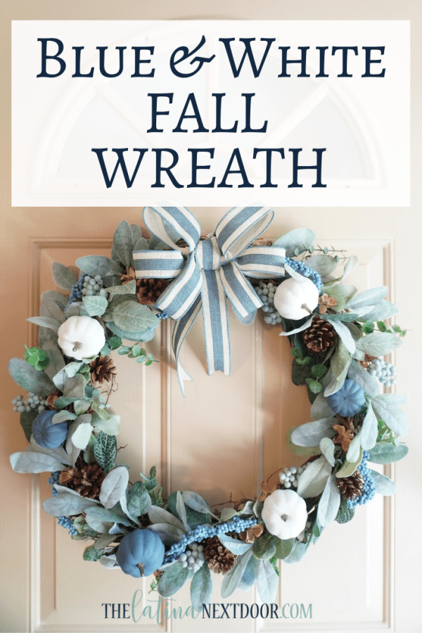 Look for Less Fall Wreath Blue & White Fall Wreath