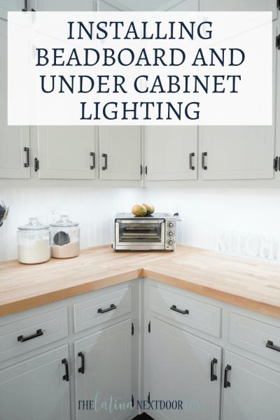 Beadboard Backsplash and Under Cabinet Lighting