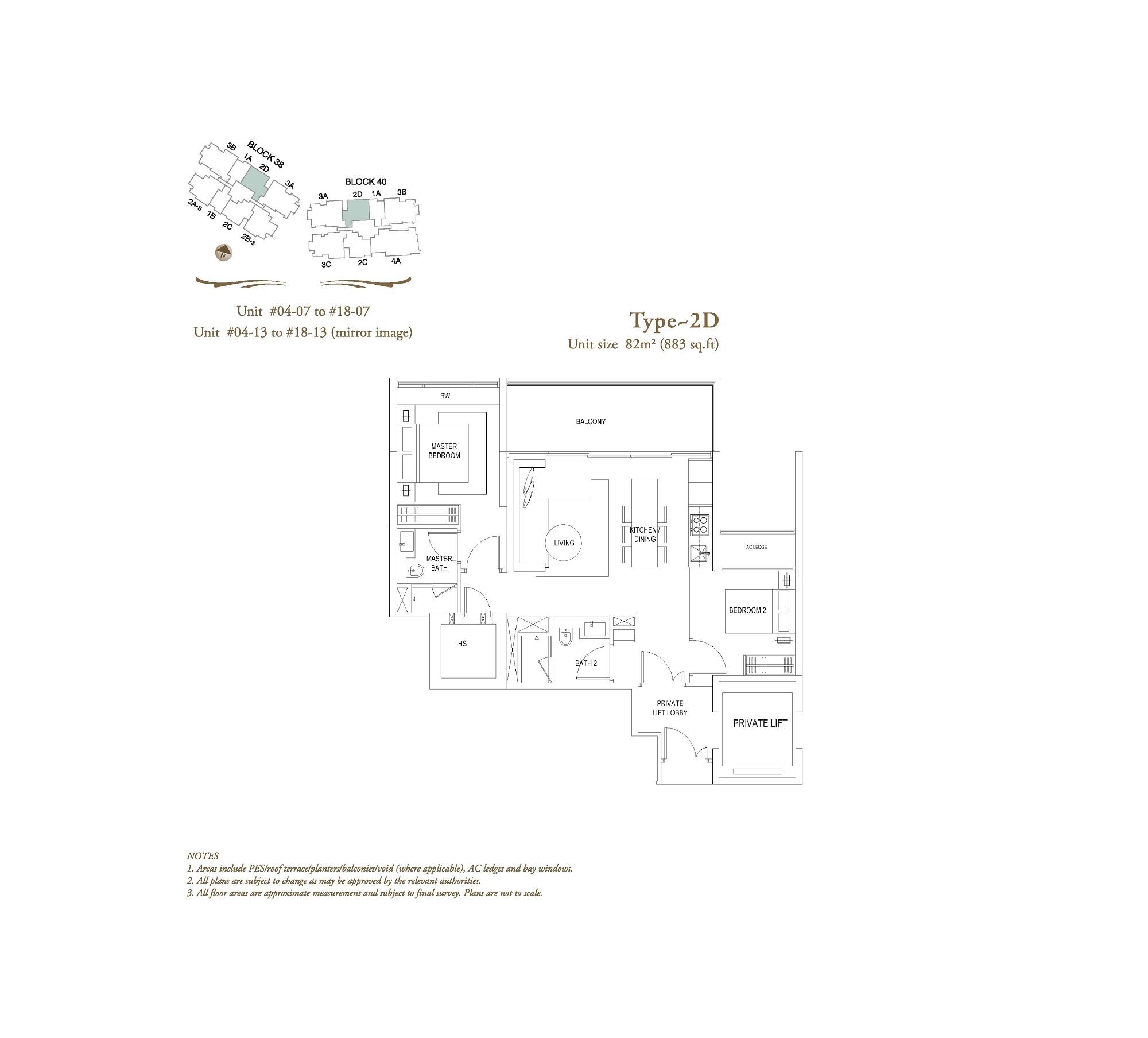 The Laurels 2 Bedroom Type 2D Floor Plans