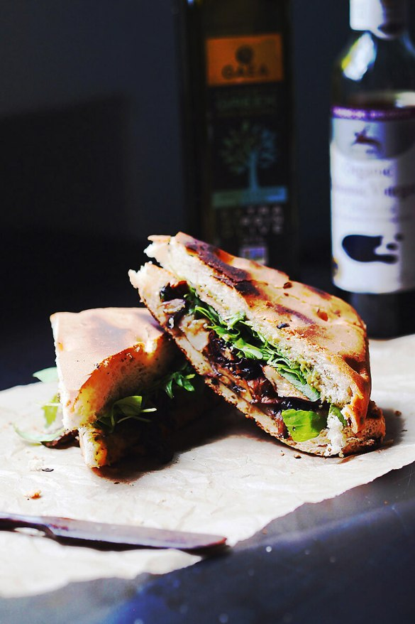 Roasted Vegetables And Pesto Focaccia Sandwich