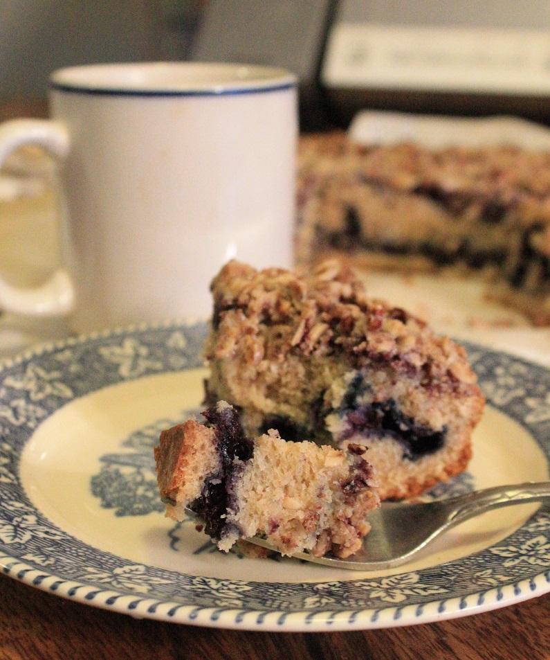 Wild Blueberry Coffee Cake with Chai Glaze | The Lazy Vegan Baker