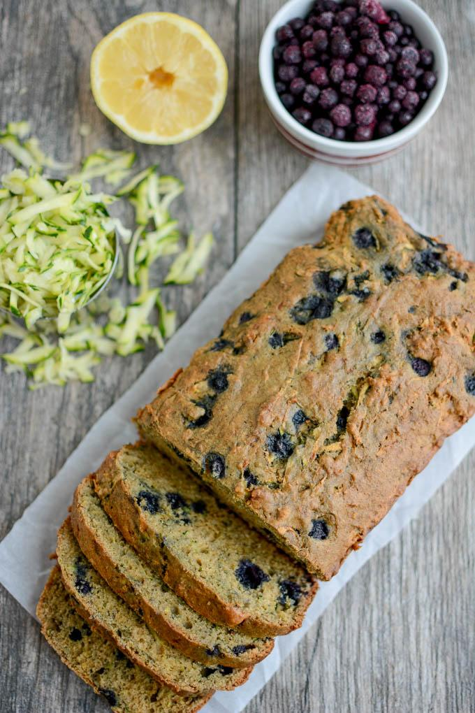 Whole Wheat Lemon Blueberry Zucchini Bread