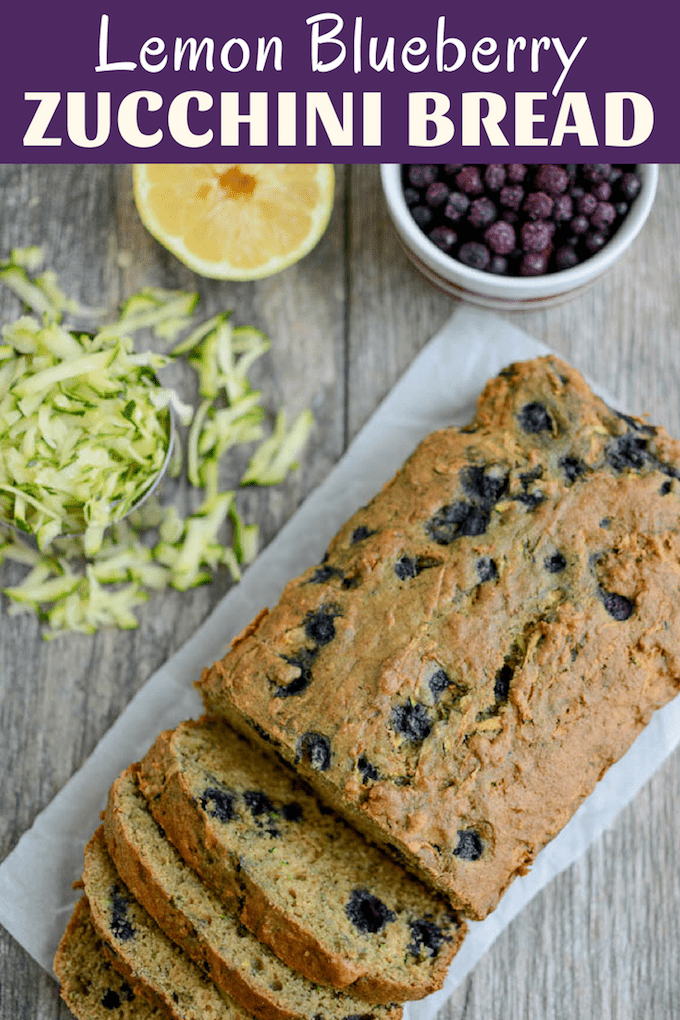 This Lemon Blueberry Zucchini Bread puts a fun twist on a classic summer recipe. Don't like lemon? Skip the zest and add extra blueberries! Enjoy a slice for breakfast or an afternoon snack!