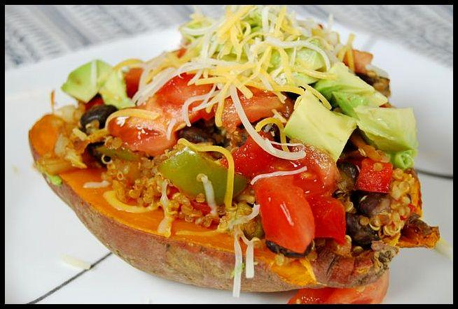A easy weeknight dinner! These vegetarian Mexican Loaded Sweet Potatoes come together quickly and are easy to customize!