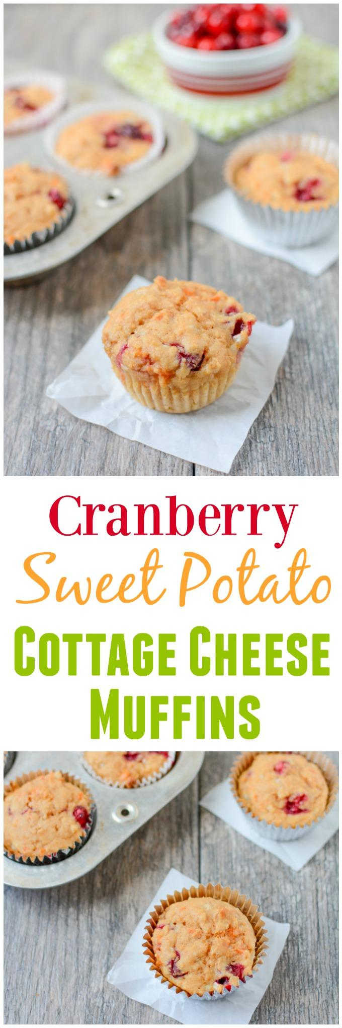 Lightly sweetened and packed with protein and fiber, this recipe for Cranberry Sweet Potato Cottage Cheese Muffins makes a great grab-and-go breakfast!