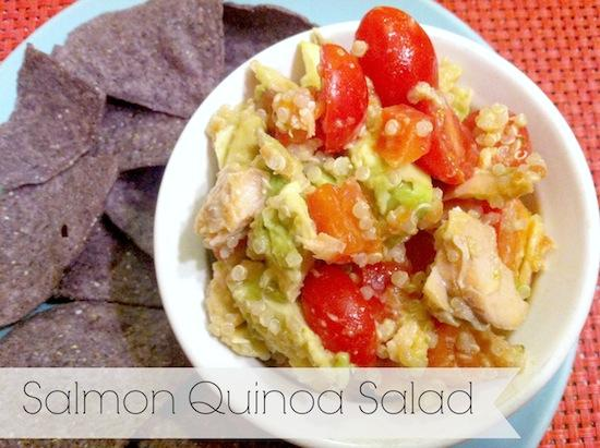 This Salmon Quinoa Salad is ready in minutes and makes a quick, healthy lunch during a busy week!