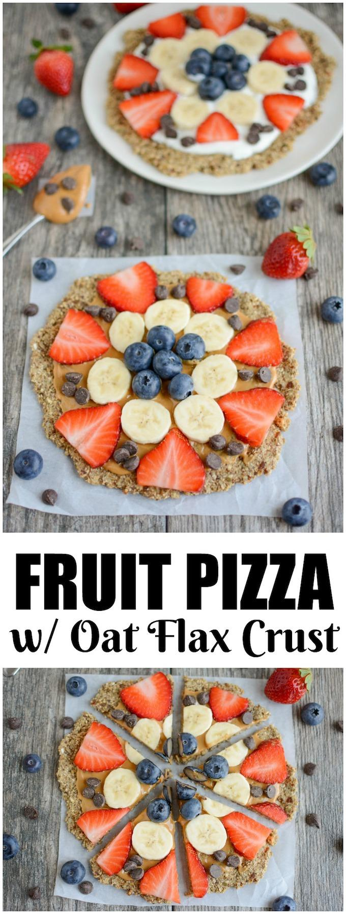 This Fruit Pizza with Oatmeal Flax Crust is packed with fiber and so easy to make. Let everyone top this kid-friendly breakfast or snack recipe with their favorite nut butter, yogurt and fruit!