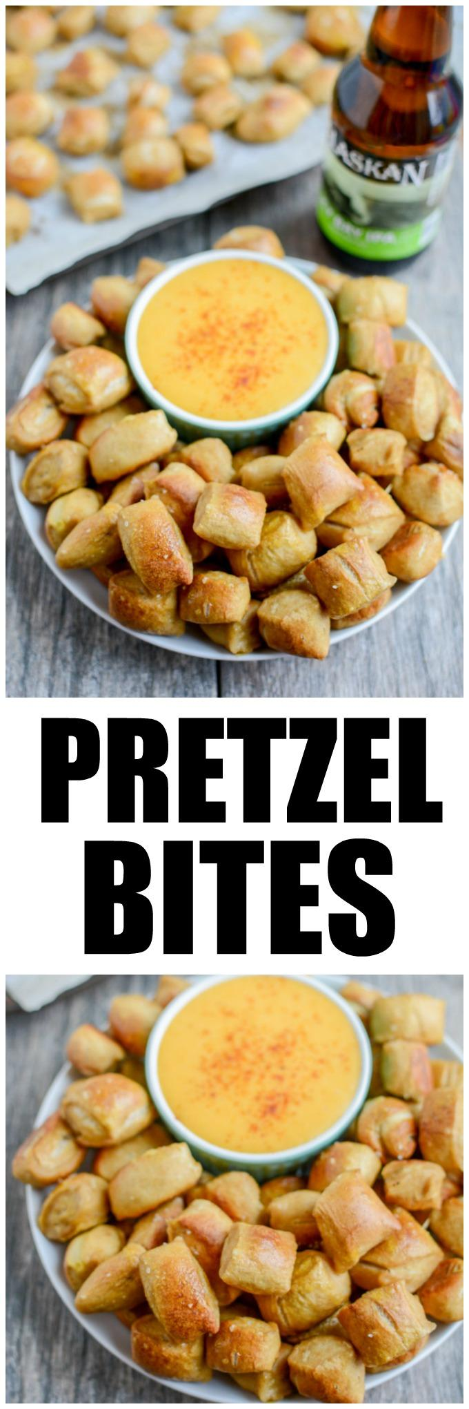 These Homemade Soft Pretzels can be made into the traditional shape or cut into bites for a perfect game day or party appetizer!