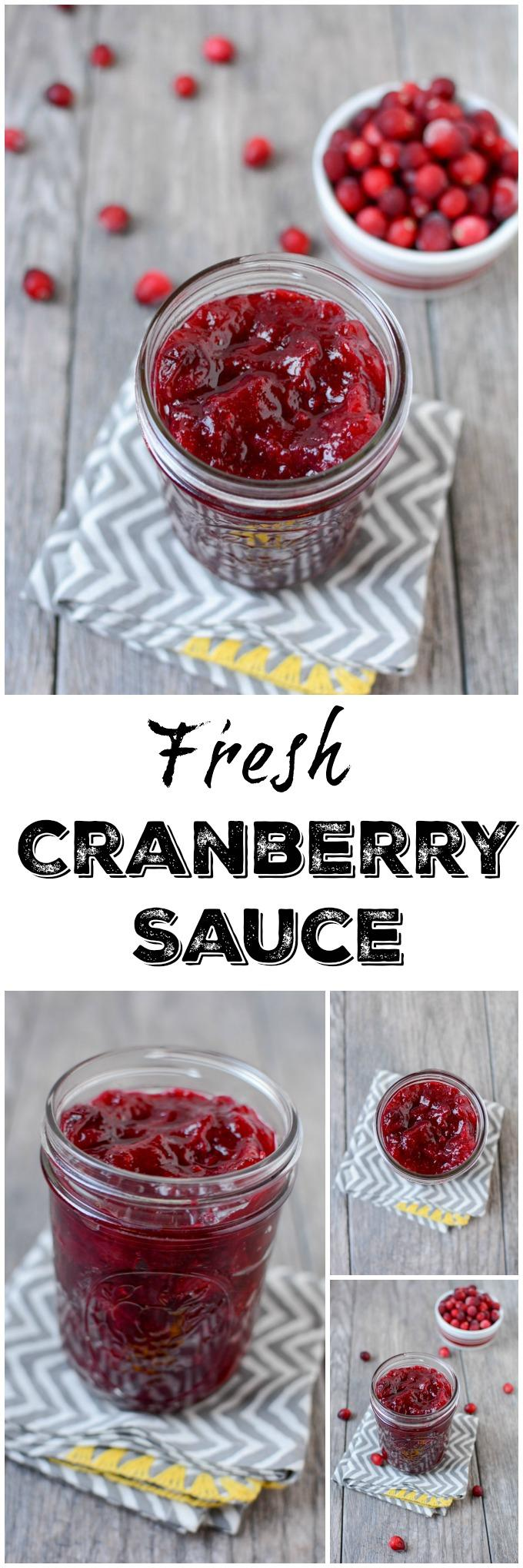 This Fresh Cranberry Sauce is simple to make, ready in 15 minutes and tastes great on everything from turkey to oatmeal! Make a batch and enjoy on your favorite breakfast, lunch, dinner and holiday recipes!