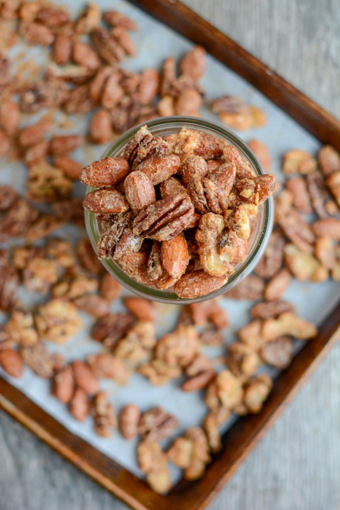 These Sweet & Spicy Almonds (or mixed nuts) are lightly sweetened, with just the right amount of spice. They make a great party appetizer or holiday gift!