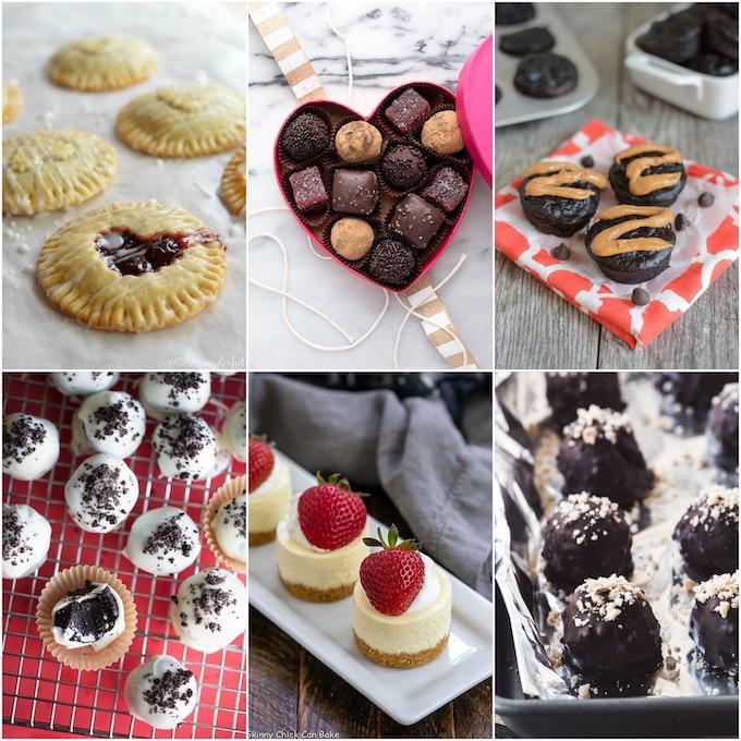 collage of bite-sized Valentine's day desserts
