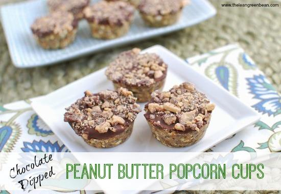 These Chocolate Dipped Peanut Butter Popcorn Cups are a great snack to have on hand for movie night!
