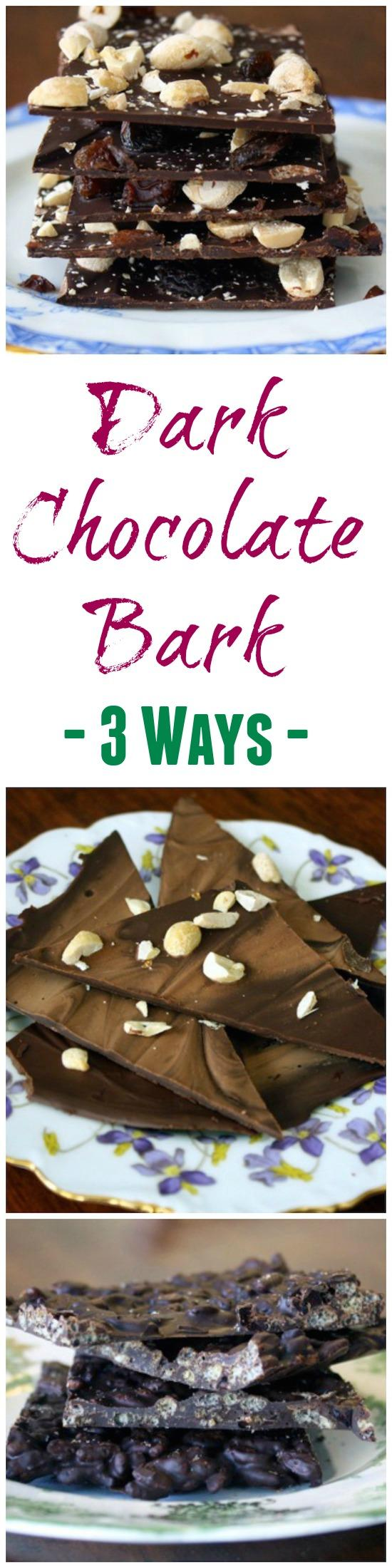 Make this dark chocolate bark for an after dinner treat. Here are three versions to make this dessert a hit with everyone!