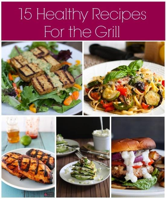 Using the grill is a great way to make quick, healthy meals. Here are 15 recipes to get you started- everything from meat and fish to vegetables and tofu.