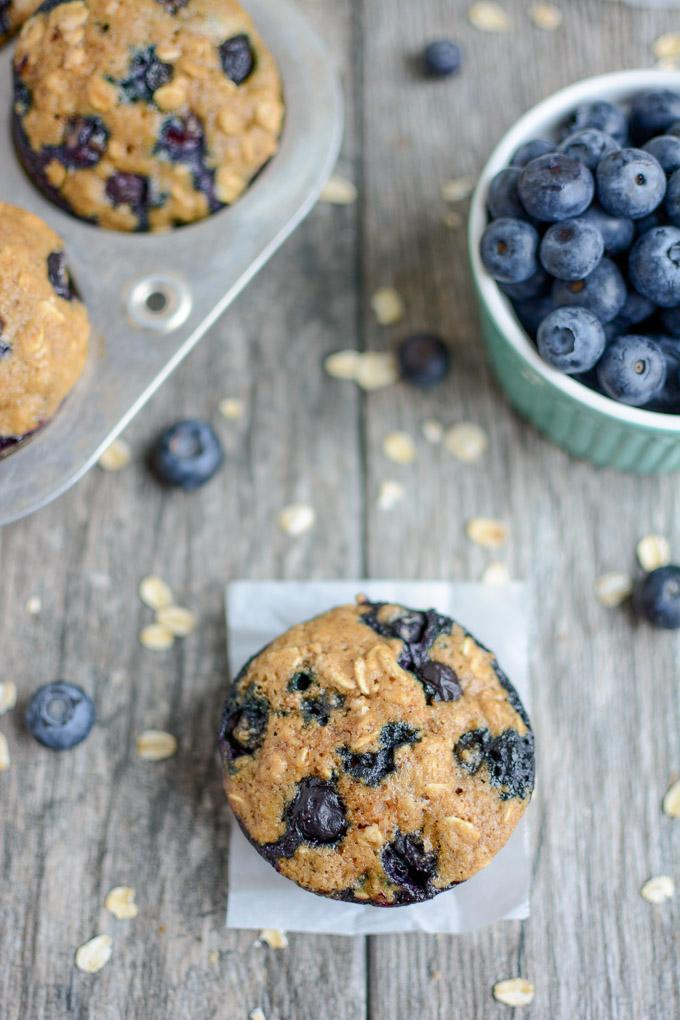 Healthy Blueberry Muffins closeup