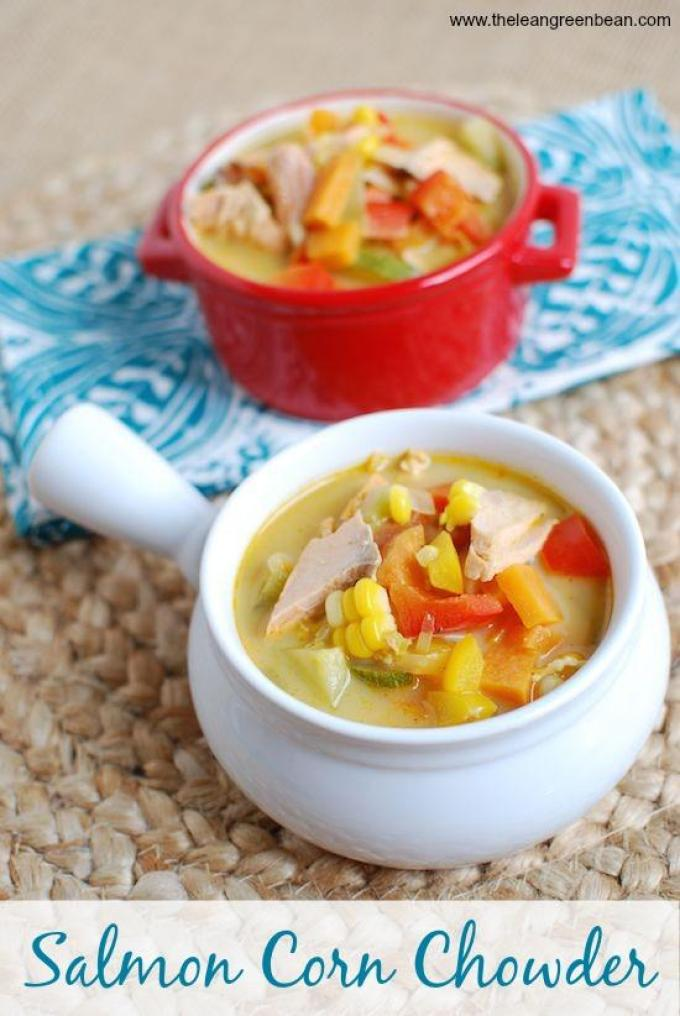 This Salmon Corn Chowder is a light, simple soup that's packed with vegetables. Enjoy it for lunch or dinner even on a hot summer day.