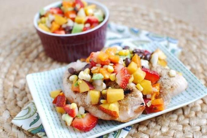 This light, refreshing Summer Salsa is a delicious combination of fruit, avocado and beans and makes the perfect topping for grilled meat!