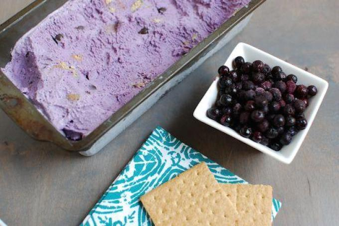 Make your own homemade ice cream and avoid all the added fillers in store bought! Try this Wild Blueberry Ice Cream with graham crackers and chocolate chips for inspiration. Bonus- blueberries are a superfood and packed with antioxidants.