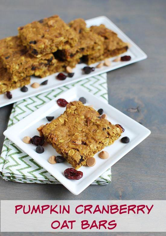 These Pumpkin Cranberry Oat Bars make a healthier dessert option to satisfy your sweet tooth!
