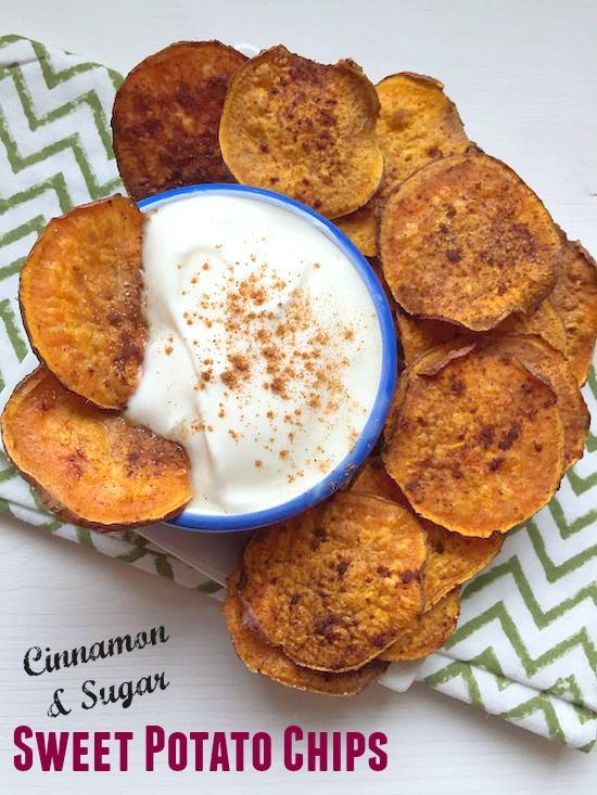 These Cinnamon and Sugar Sweet Potato Chips are easy to make and perfect for dipping into a bowl of vanilla yogurt!