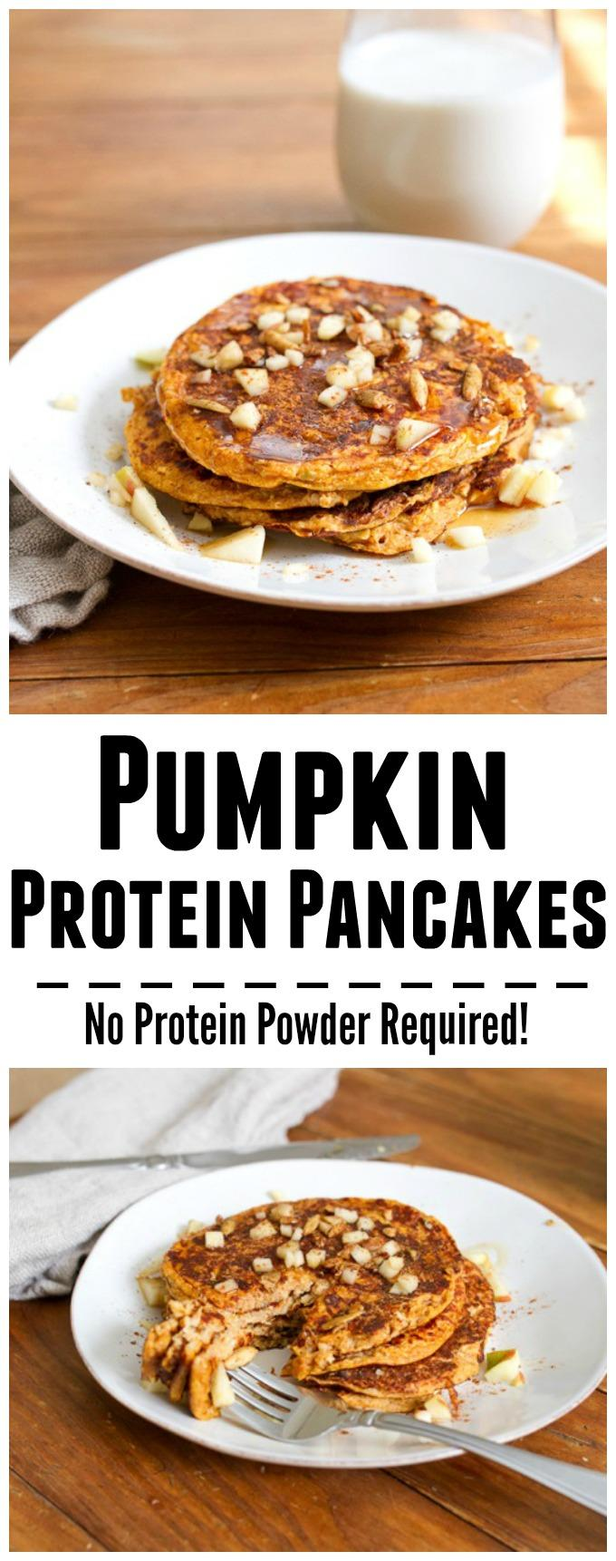 No protein powder needed in this recipe for Pumpkin Protein Pancakes! Enjoy a batch for breakfast or a snack on a busy day!