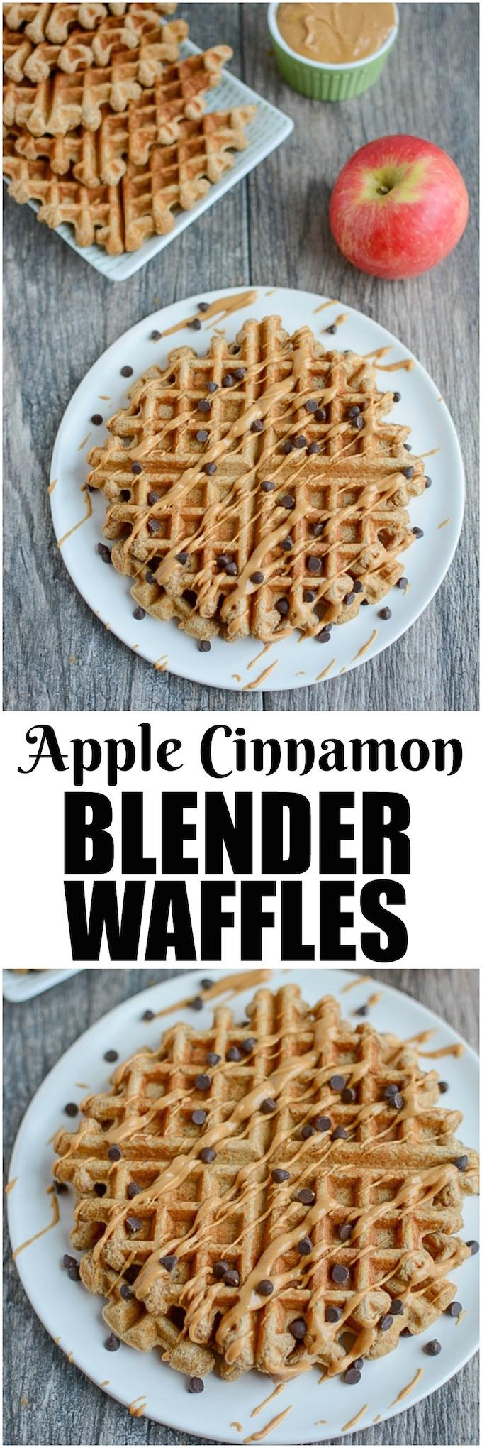 These Apple Cinnamon Blender Waffles are an easy, healthy breakfast option and also make a great afternoon snack!