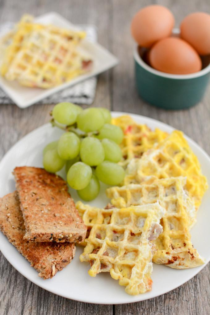Egg Waffles with toast and fruit