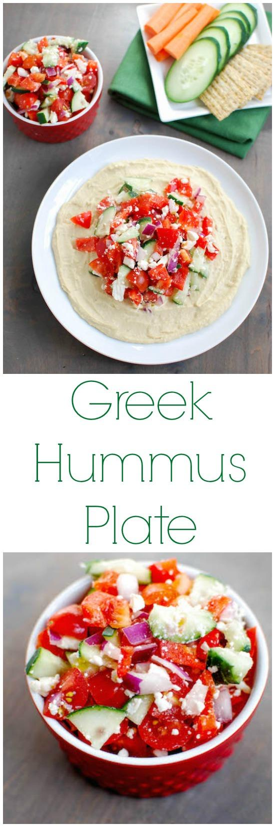 Hummus, veggies and feta in every bite makes this Greek Hummus Plate the perfect party appetizer or afternoon snack.