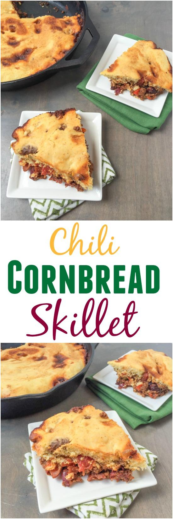 Simple and flavorful, this Chili Cornbread Skillet is ready in about 30 minutes for an easy weeknight dinner the whole family will love.