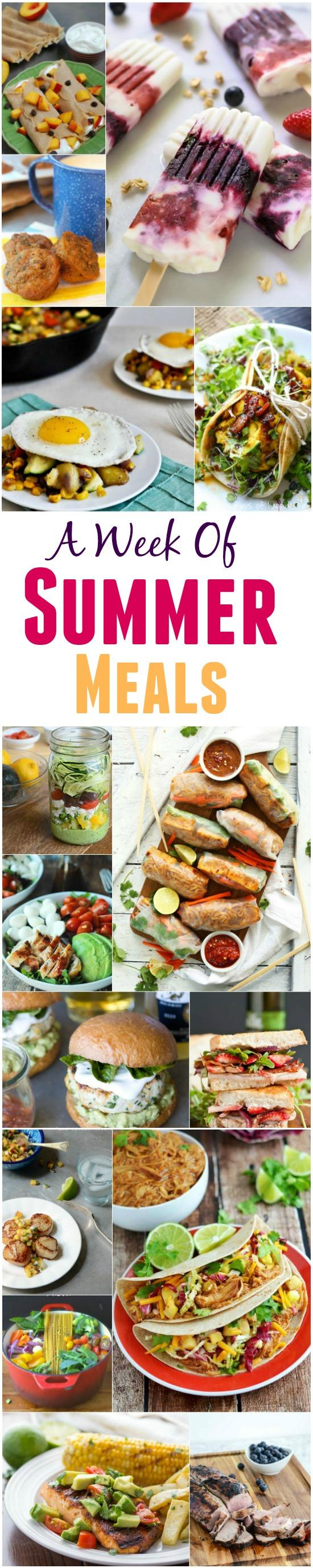 A Week of Summer Meal Ideas - breakfast, lunch, dinner, sides and salads!