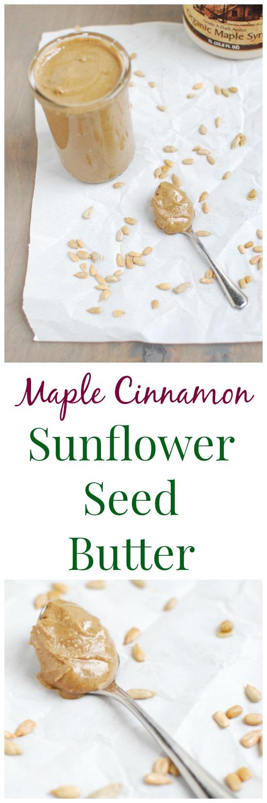 A fun way to change things up from traditional nut butter, this Maple Cinnamon Sunflower Seed Butter is allergy-friendly, delicious and easy to make at home!