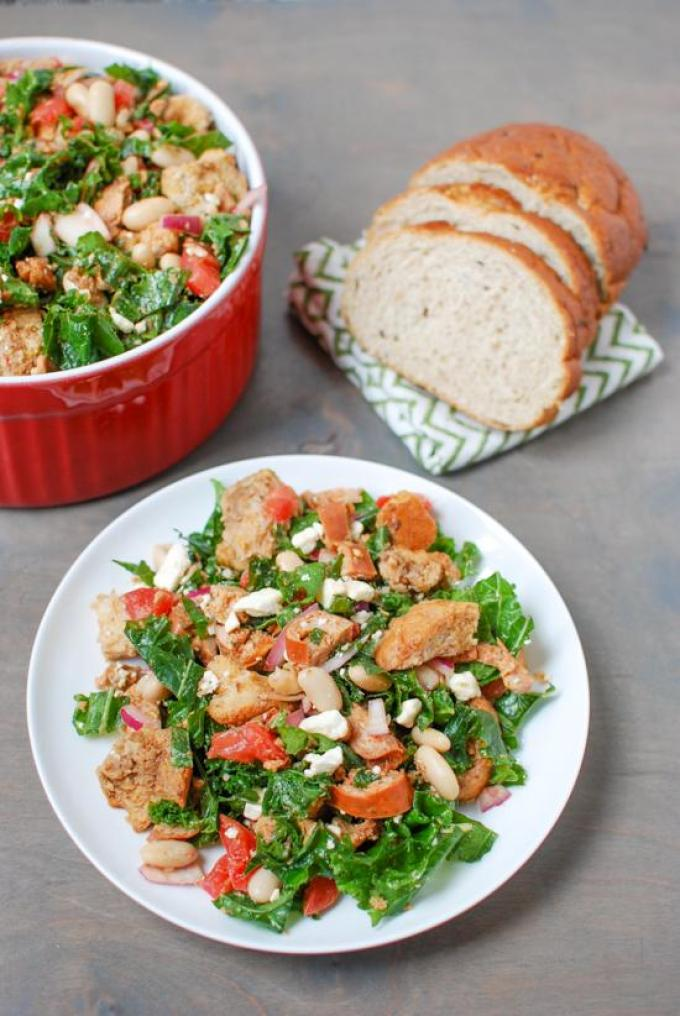 This recipe for no-cook Kale Panzanella with Chicken Sausage comes together quickly and tastes great! Make a batch to enjoy for lunch all week long.