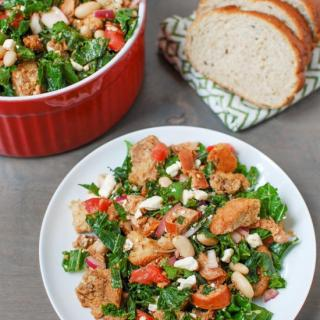 Kale Panzanella with Chicken Sausage