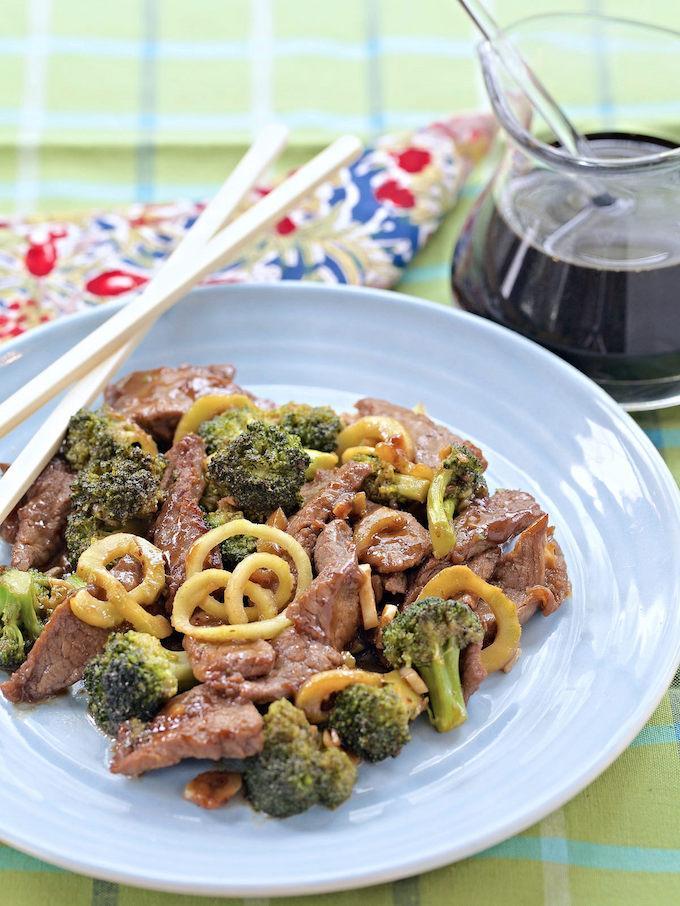 Broccoli Beef with Broccoli Stem Noodles