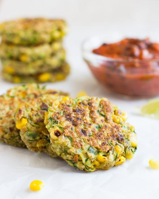 Zucchini Corn Fritters with Black Bean Salsa