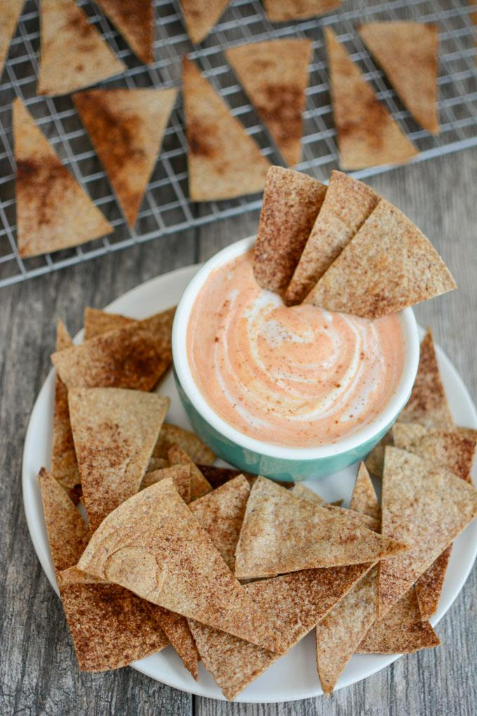 Pumpkin Yogurt Dip with Cinnamon Sugar tortilla chips
