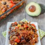 This recipe for Salsa Verde Pork Enchilada Casserole easily makes two dinners. Serve the slow cooker salsa verde pork with rice one night and turn the leftovers into enchilada casserole later in the week.