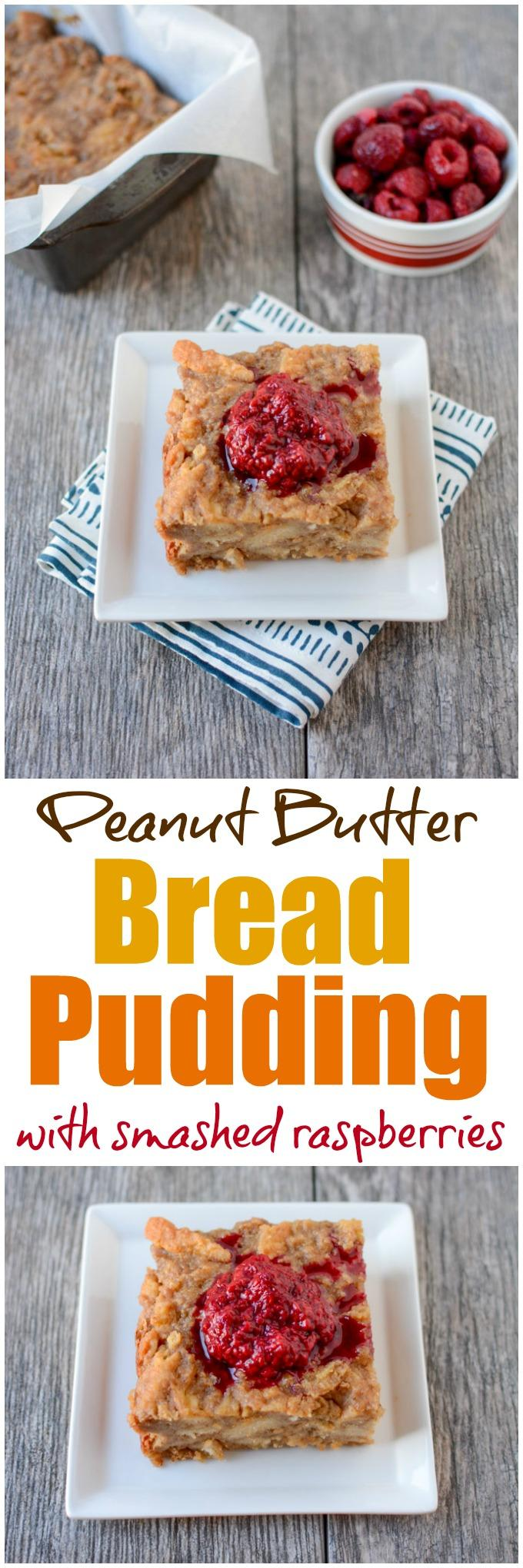 This recipe for a small batch of Peanut Butter Bread Pudding is perfect for dessert! Top with smashed raspberries for added sweetness.