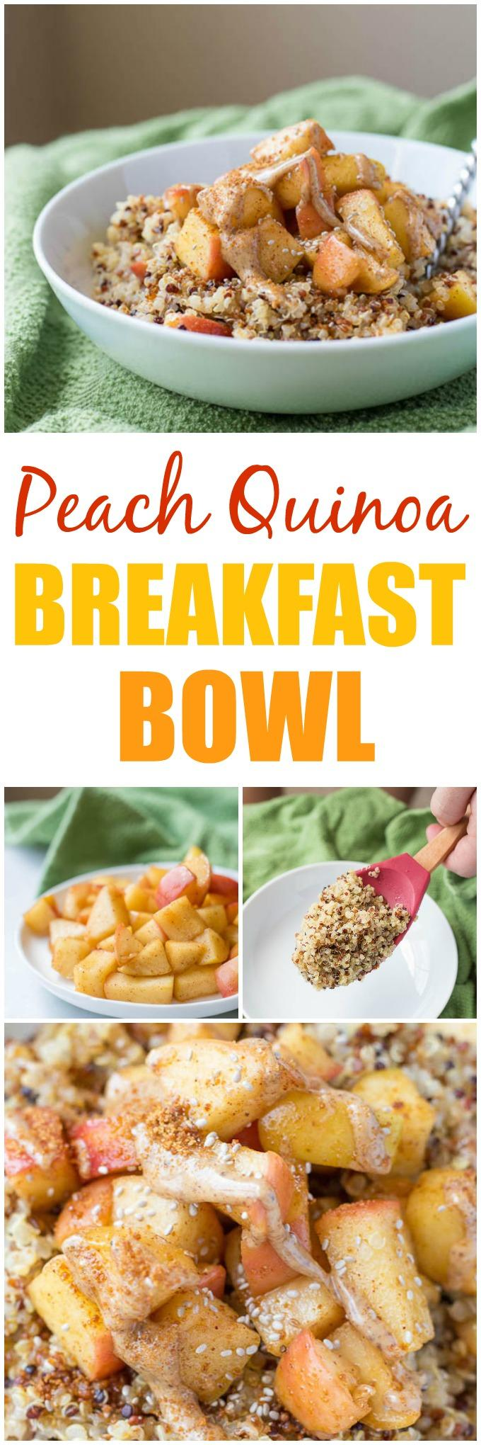 This Caramelized Peach and Quinoa Breakfast Bowl is packed with protein and makes a great summer breakfast.