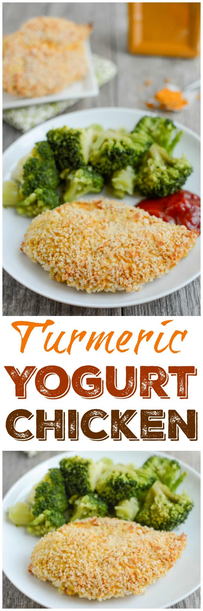 This Turmeric Yogurt Chicken is the perfect food prep recipe. Put the chicken in the marinade ahead of time, then simple coat with breadcrumbs and bake for a quick, healthy dinner!
