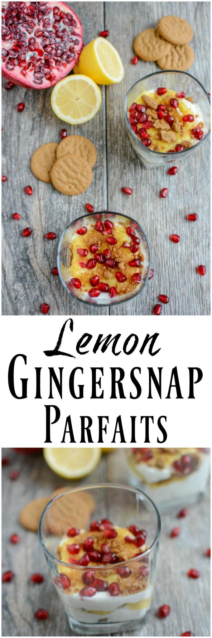 These Lemon Gingersnap Parfaits are the perfect holiday dessert recipe. Made with just a few simple ingredients, they're easy to assemble and oh so festive!
