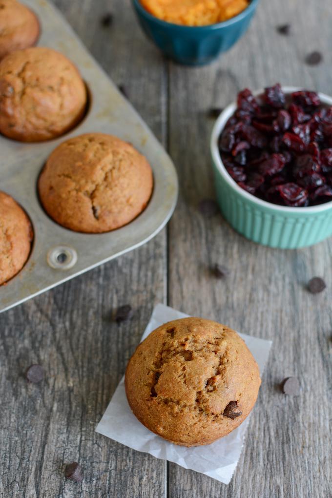 Cranberry Sweet Potato Muffins made with Craisins