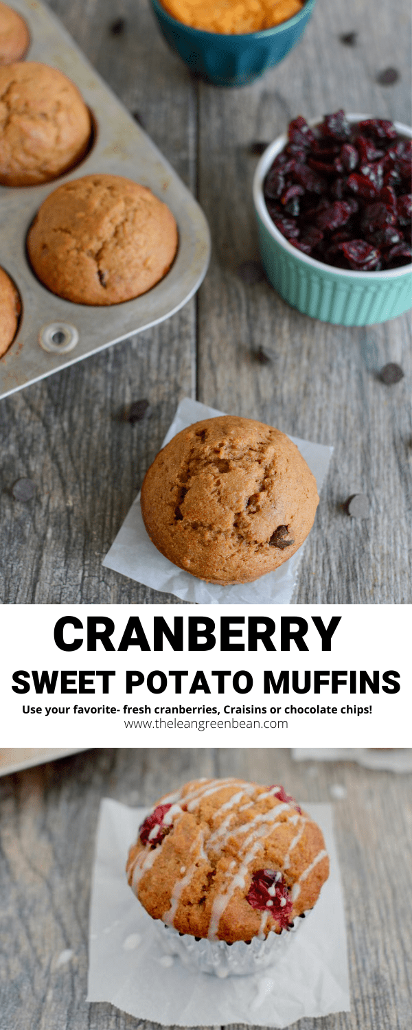 This recipe for Cranberry Sweet Potato Muffins makes a great breakfast or grab-and-go snack. Make them with fresh cranberries, Craisins or chocolate chips!